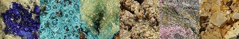 gallery of aërinite, agrellite, bariandite, bayldonite, callaghanite, carpholite, cavansite, falkmanite, guanajuatite, hausmannite, liroconite, mansfieldite, mcguinnessite, metavariscite, nickelskutterudite, perovskite, redledgeite, santaclaraite, sénarmontite, senegalite, tsumcorite, zincite, and zunyite